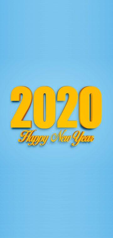 new year 2020 yellow blue wallpaper
