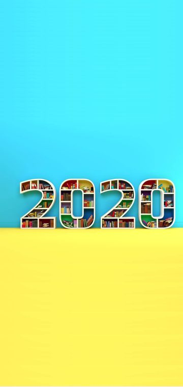 new year 2020 book shelf wallpaper