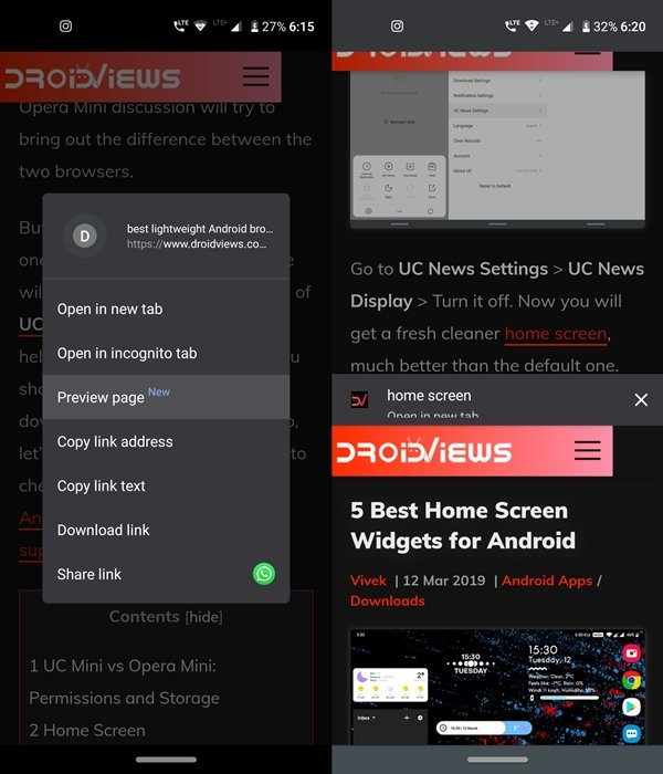 chrome browser preview link