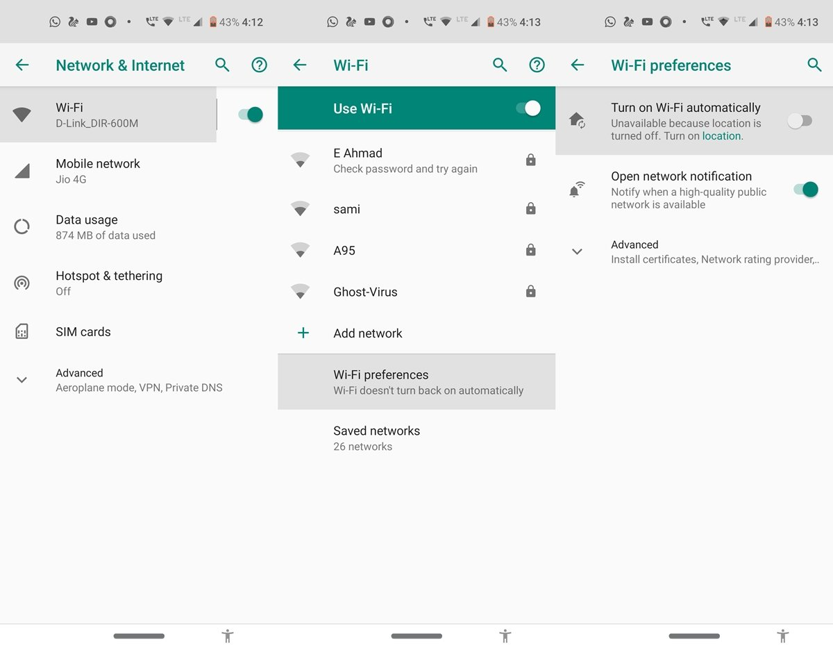 android wifi automation settings