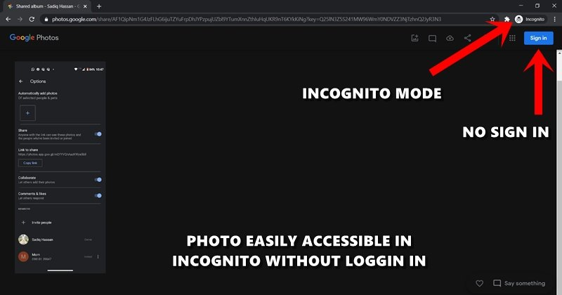 google photos incognito