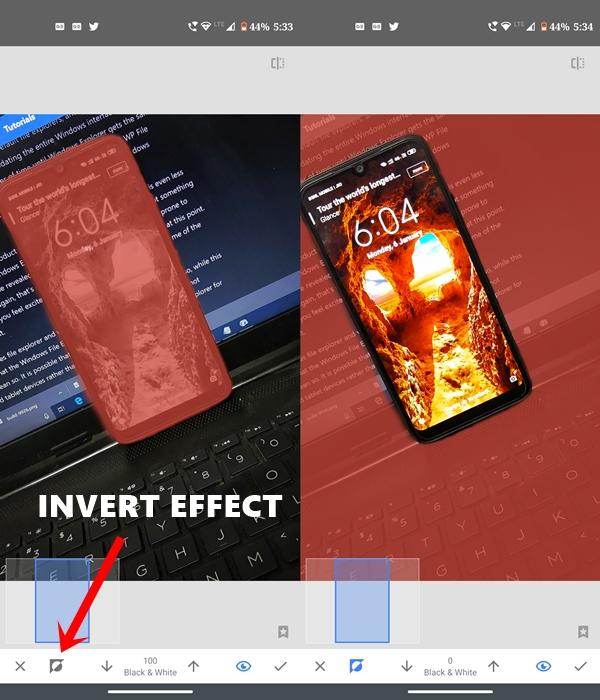 invert effect image snapseed