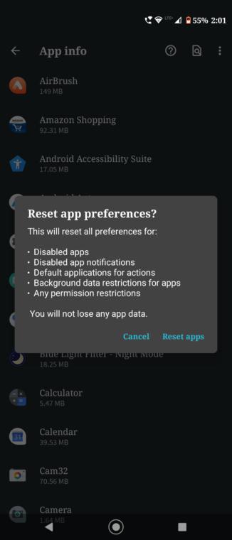 reset app pref