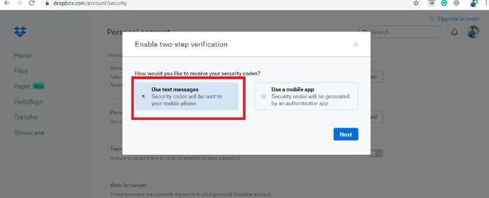 Enable Two Factor Authentication text message option