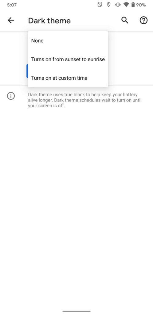 Android 11 dark mode schedule