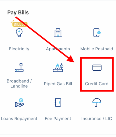 pay credit card bill paytm android