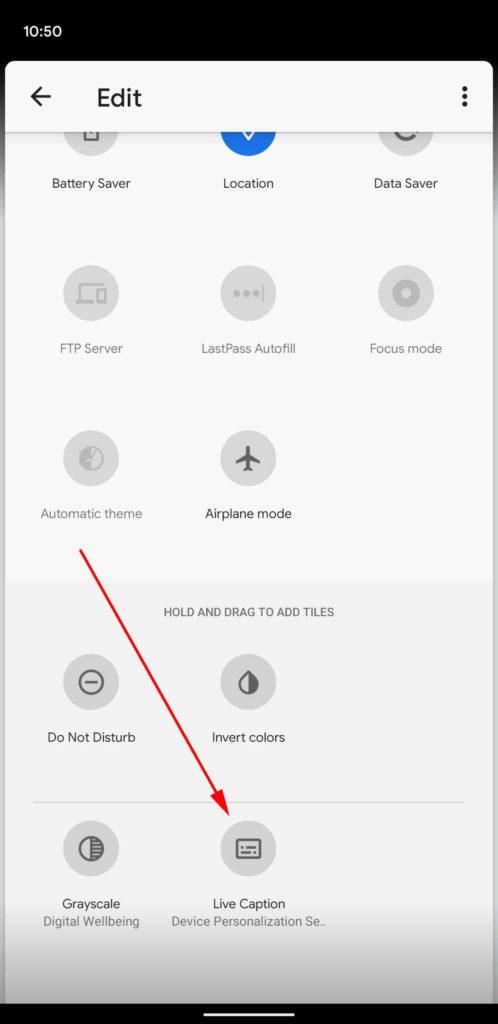 edit quick settings