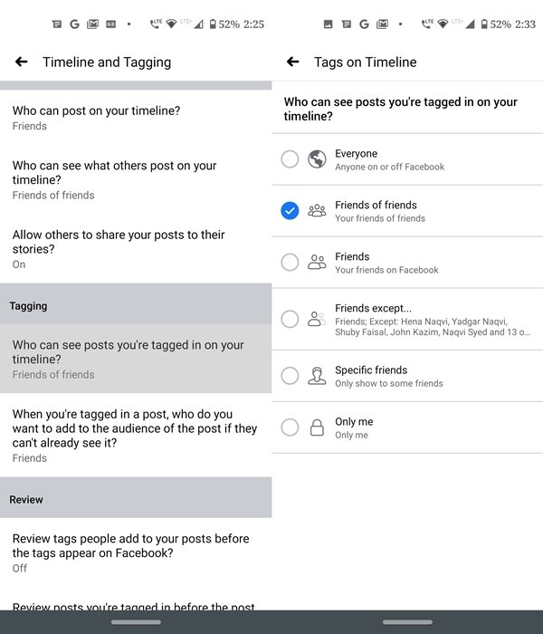 review tags option