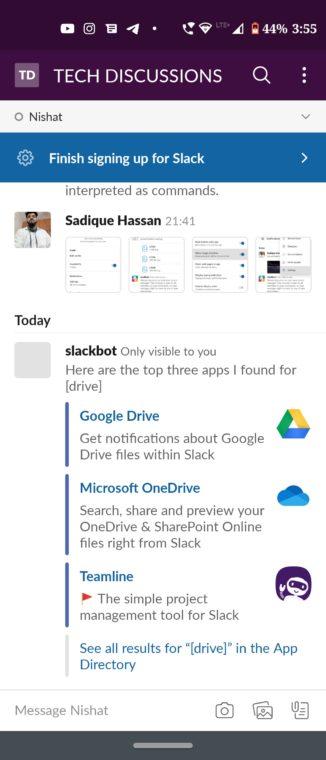 slack apps command
